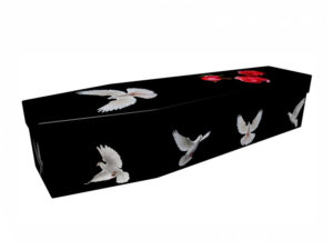 Cardboard Coffin Black with White Doves