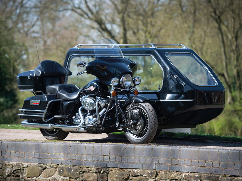 Funeral Motorcycle Harley Davidson and Sidecar