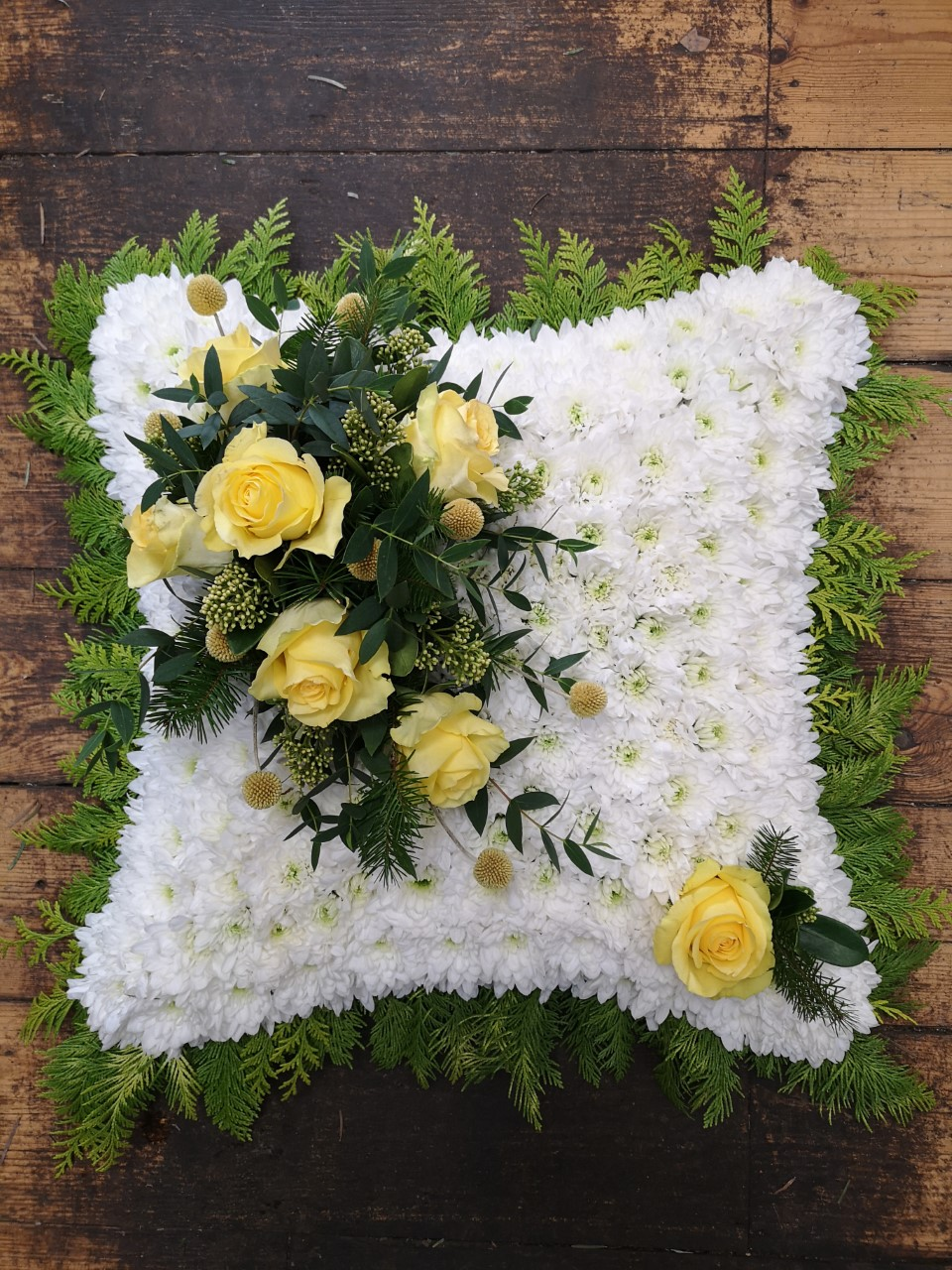 Funeral Flowers Based Cushion £100