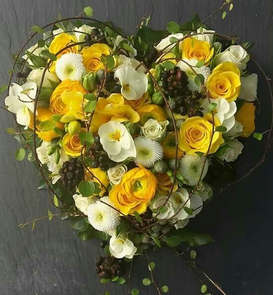 Funeral Flowers Yellow Compact Heart From £65