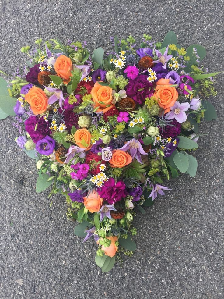 Funeral Flowers Mixed Closed Compact Heart From £65