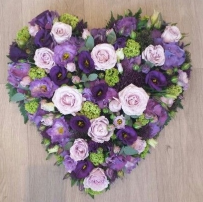 Funeral Flowers Purple Closed Compact Heart From £65