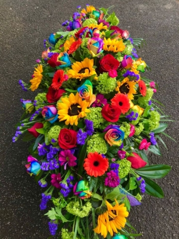 Funeral Flowers Bright Double Ended Coffin Spray From £150