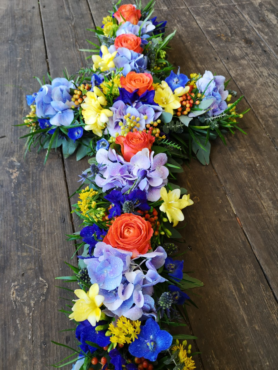 Funeral Flowers Bright Cross From £75
