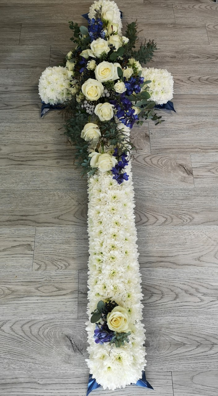 Funeral Flowers White Cross From £75
