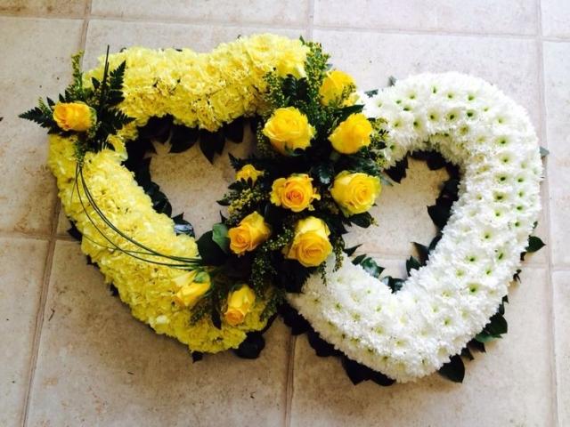 Funeral Flowers Yellow Double Open Heart £150