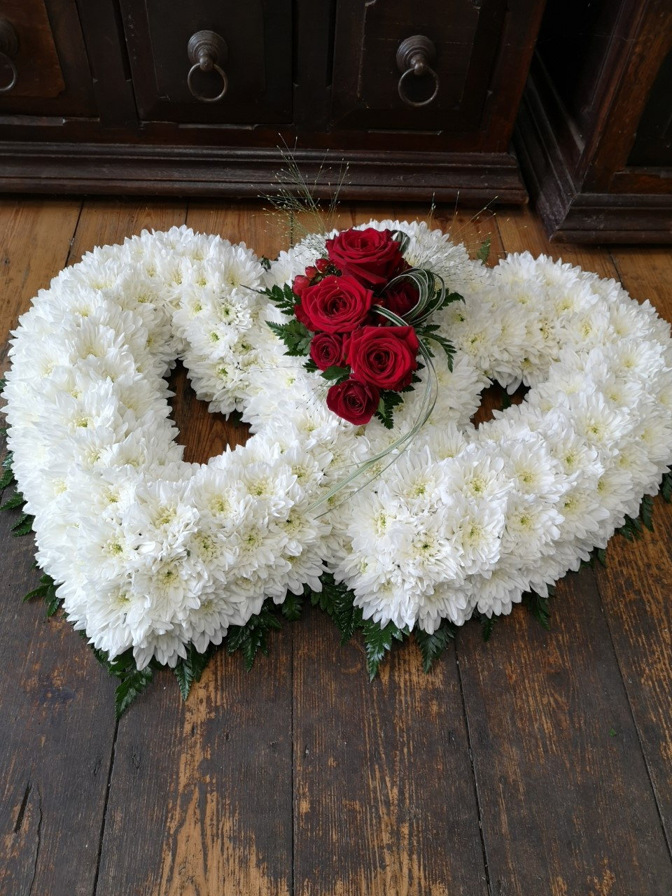 Funeral Flowers White Double Open Heart £150