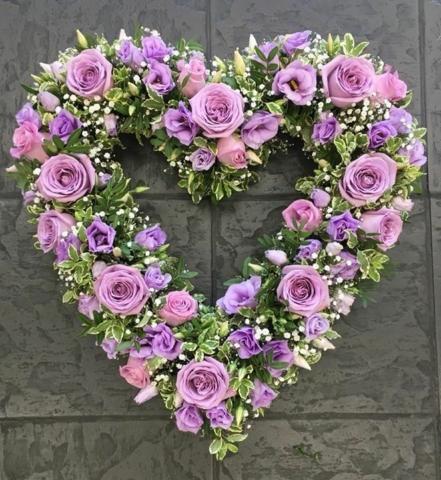 Funeral Flowers Pastel Open Heart From £65