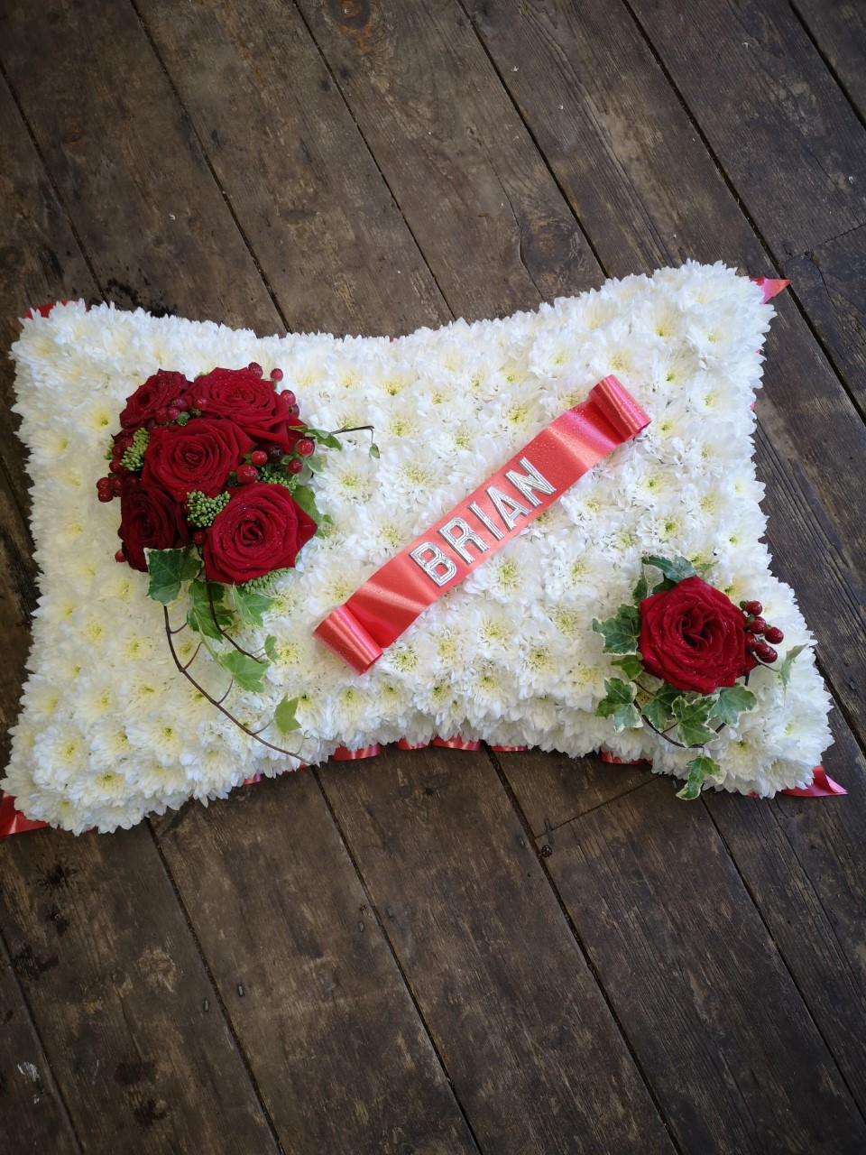 Funeral Flowers White Pillow £100