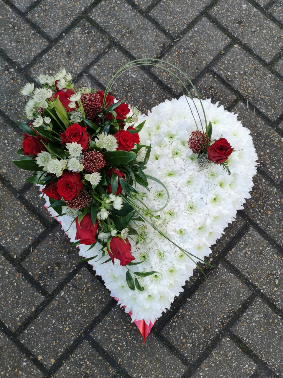 Funeral Flowers Red Solid Heart White Base From £65