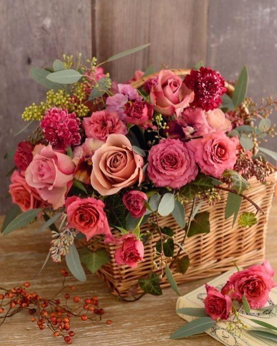 Funeral Flowers Pink Seasonal Basket £50