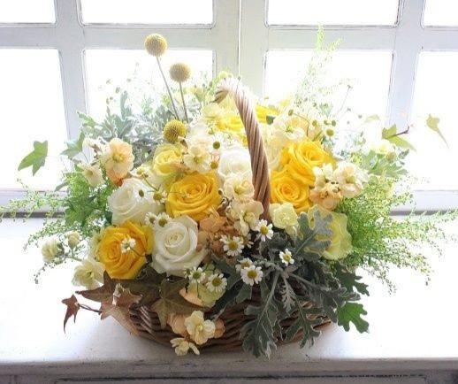Funeral Flowers Yellow Seasonal Basket £50