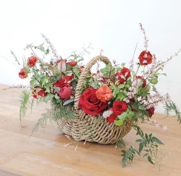 Funeral Flowers Red Seasonal Basket £50