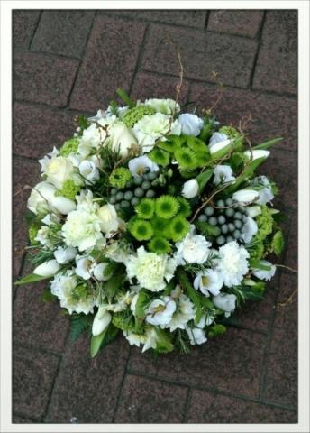 Funeral Flowers Green Seasonal Posie From £45