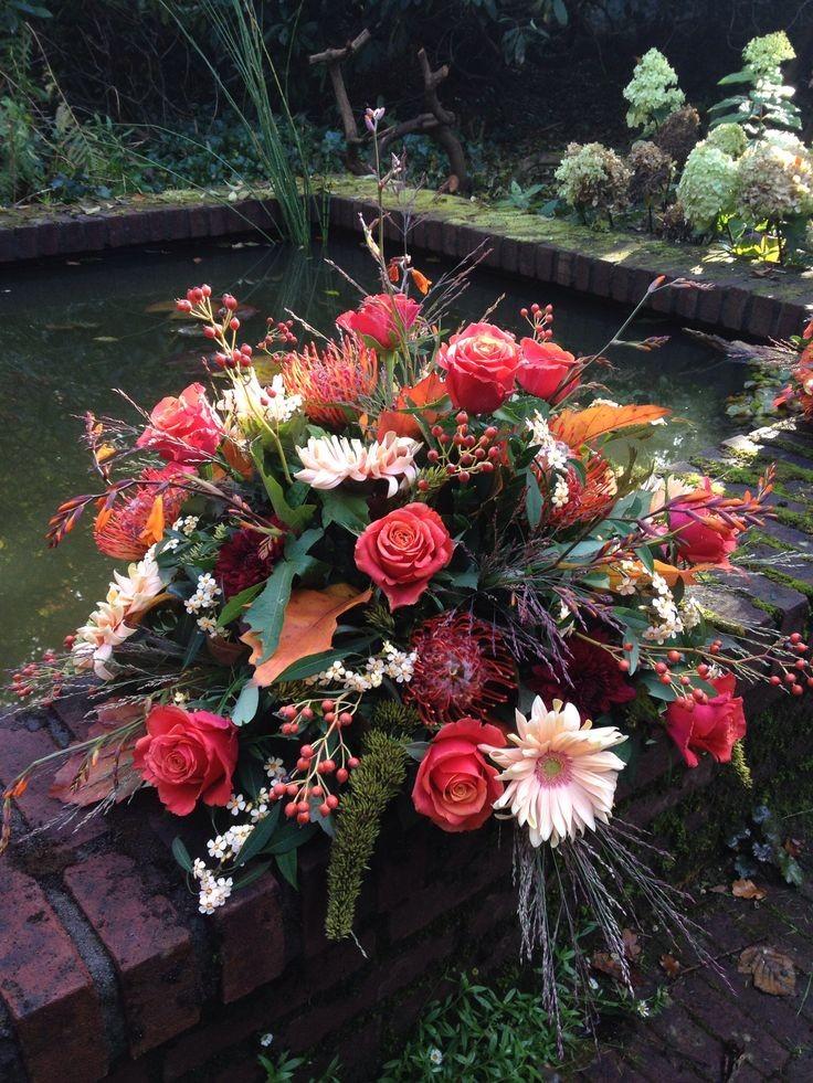 Funeral Flowers Red Seasonal Posie From £45