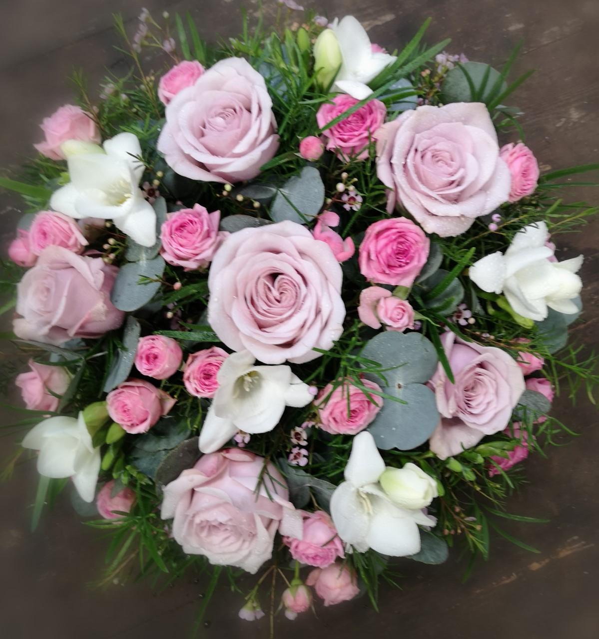Funeral Flowers Pink Seasonal Posie From £45