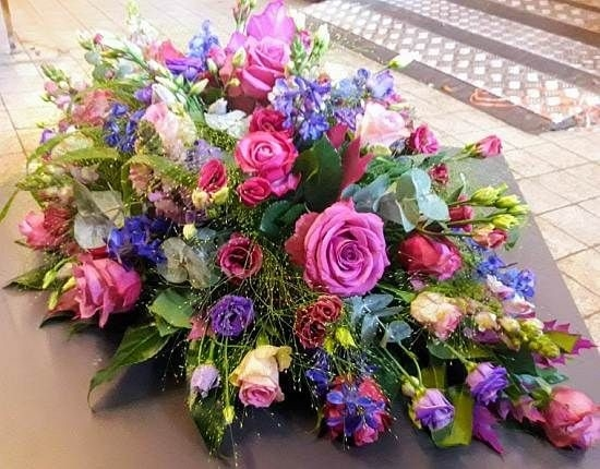 Funeral Flowers Pink Single Ended Coffin Spray From £50