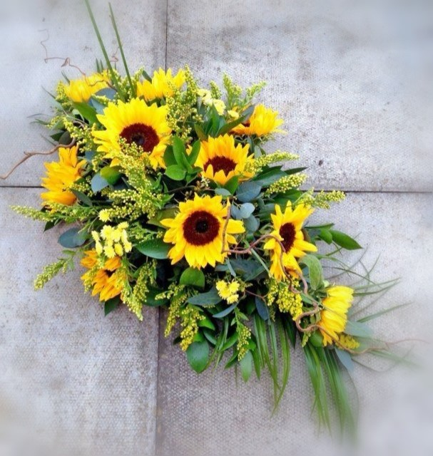 Funeral Flowers Yellow Single Ended Coffin Spray From £50