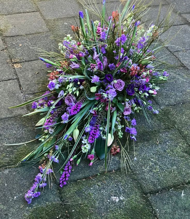 Funeral Flowers Purple Single Ended Coffin Spray From £50