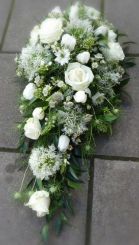 Funeral Flowers White Single Ended Coffin Spray From £50
