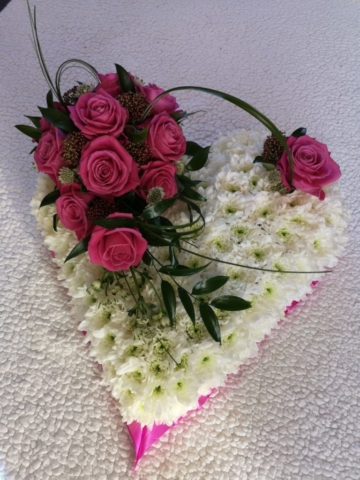 Funeral Flowers Solid Heart White Base From £65