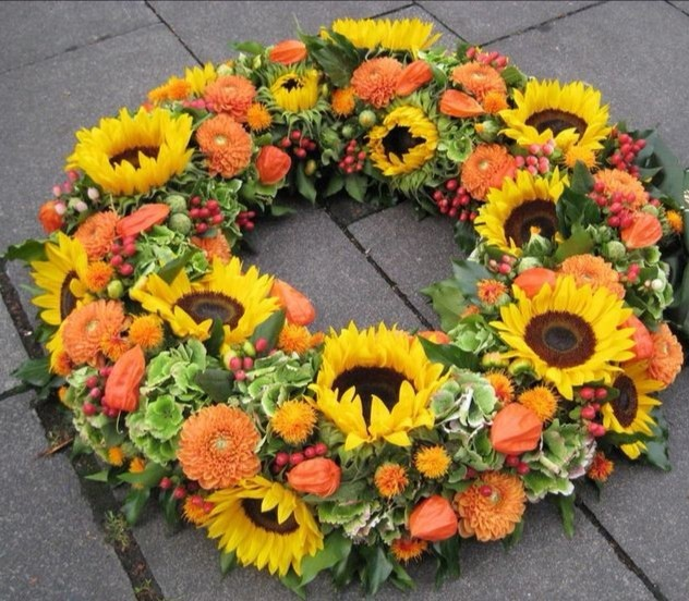 Funeral Flowers Yellow Wreath From £45